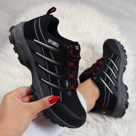 Czarno czerwone buty trekkingowe wodoodporne Wishot