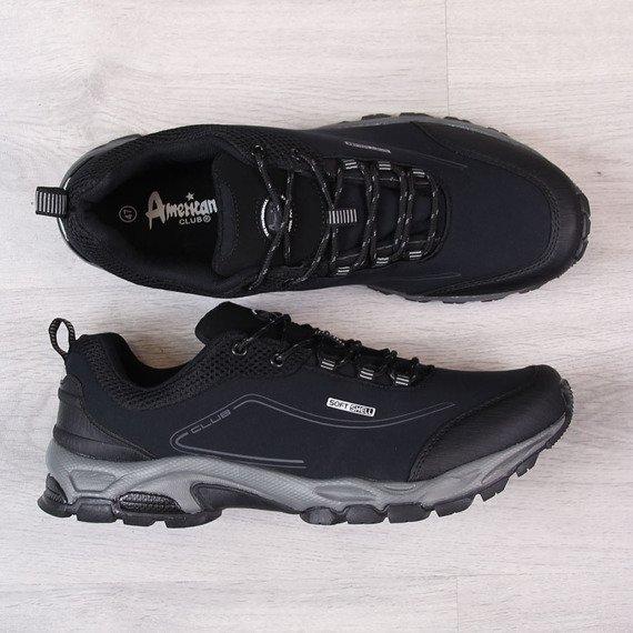Buty trekkingowe męskie wodoodporne czarne American Club