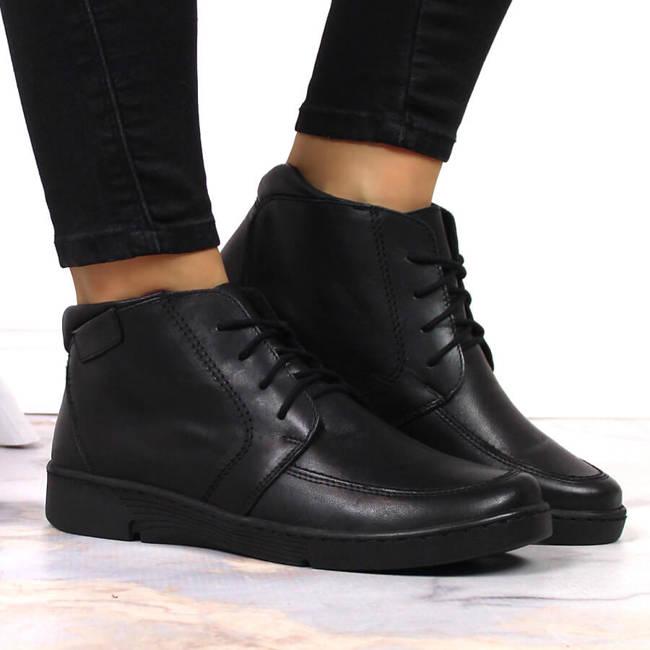 Skórzane botki damskie płaskie czarne ocieplane Łukbut 675