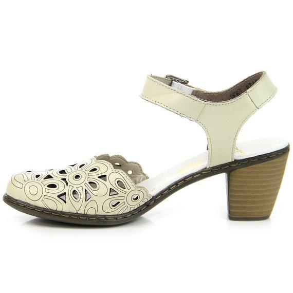 Skórzane beżowe sandały damskie Rieker 40953-80