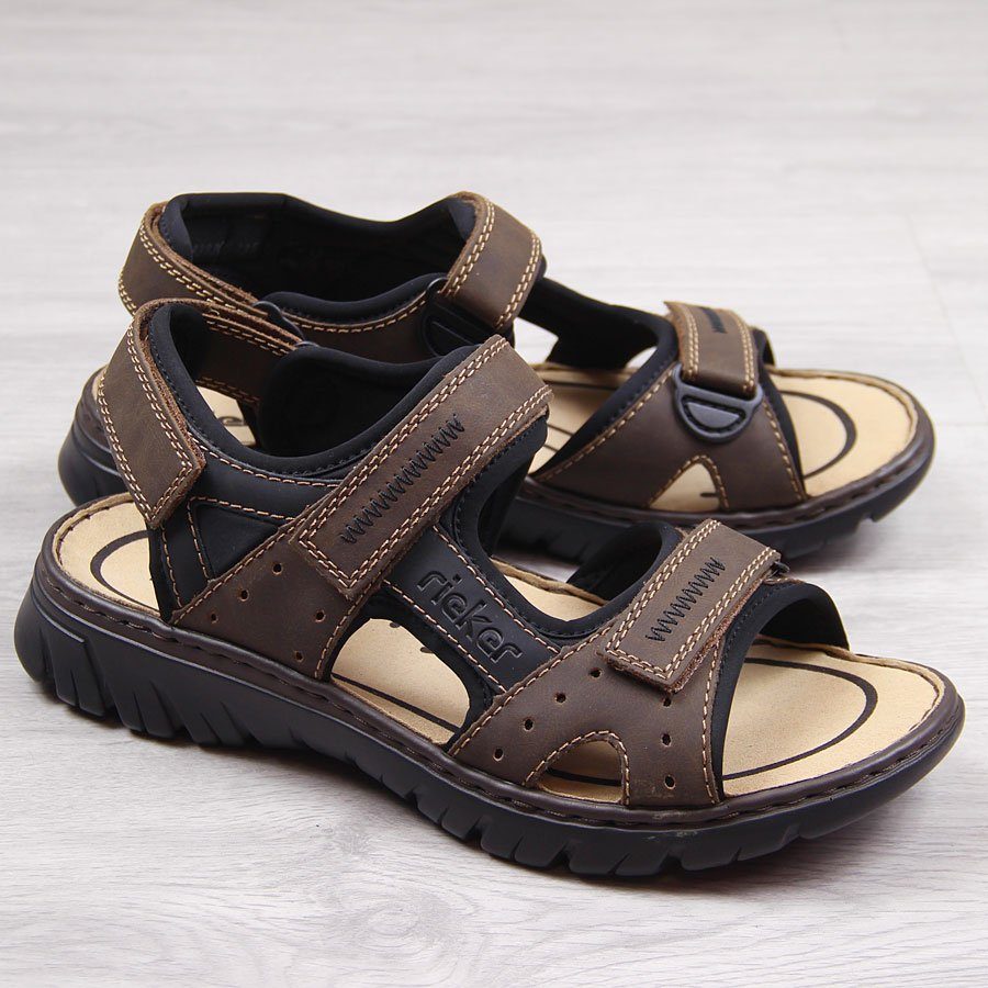 2d9dd678d73b8 Brązowe sandały męskie komfortowe Rieker 26757-25 19665 za - ButyRaj.pl