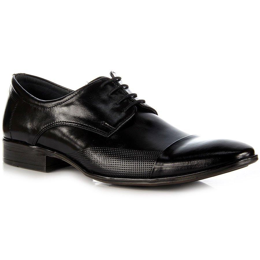 męskie czarne skórzane buty na obcasie
