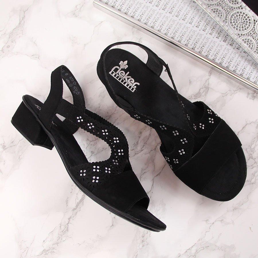 Sandały damskie z cyrkoniami czarne Rieker V6216 Czarne