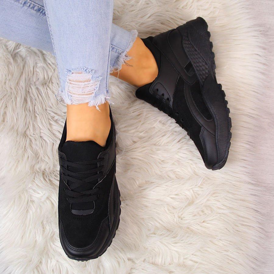 df8ba44876d8d Sportowe buty damskie na grubej podeszwie czarne McKeylor 23696 za ...
