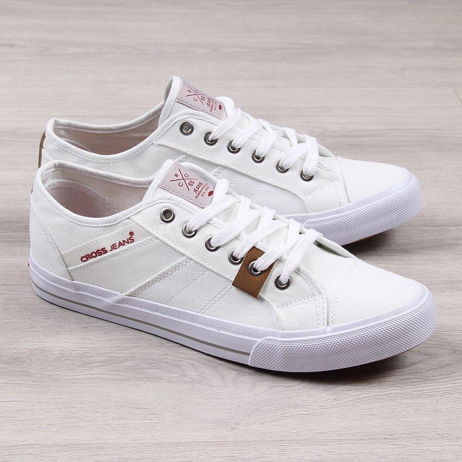 b176121f47362 Trampki męskie niskie białe Cross Jeans 24117 za - ButyRaj.pl
