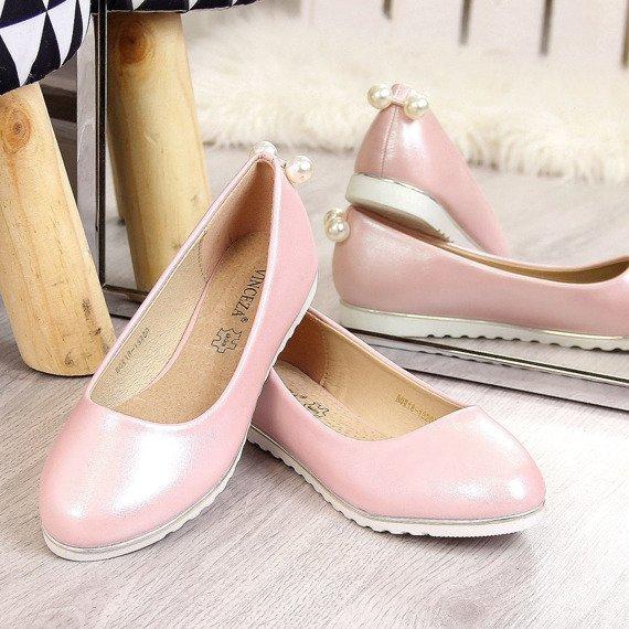 Balerinki dziewczęce z perełkami różowe Vinceza