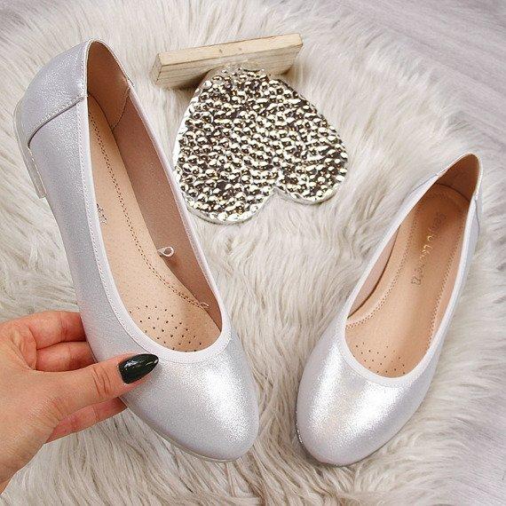 Baleriny damskie srebrne Sergio Leone