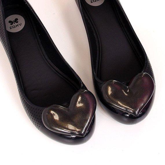 Baleriny gumowe z sercem czarne Zaxy New Pop Beauty