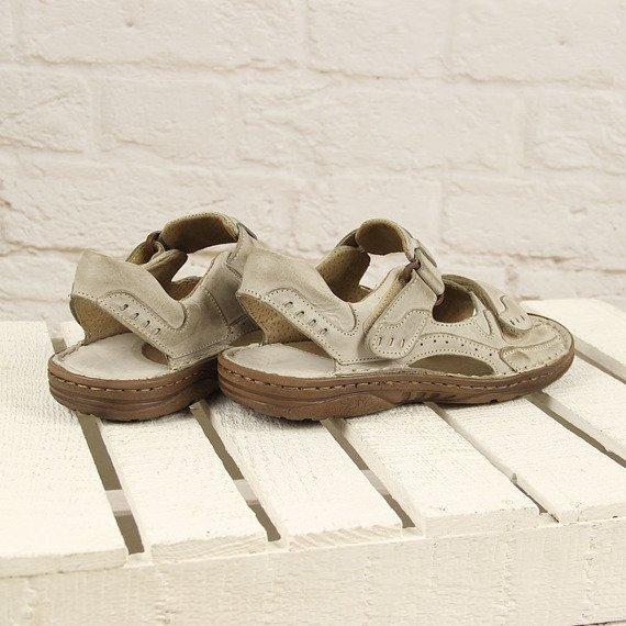 Beżowe skórzane sandały męskie komfortowe Rafado 194