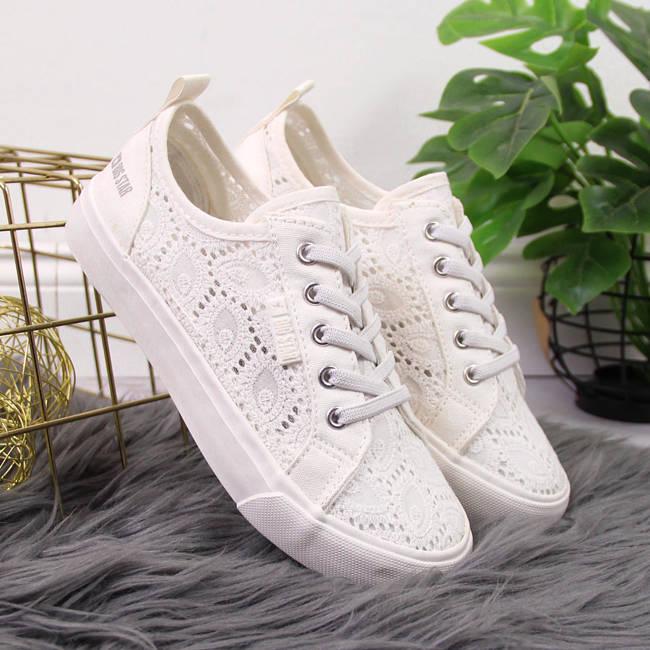 Białe tenisówki koronkowe Big Star W274925