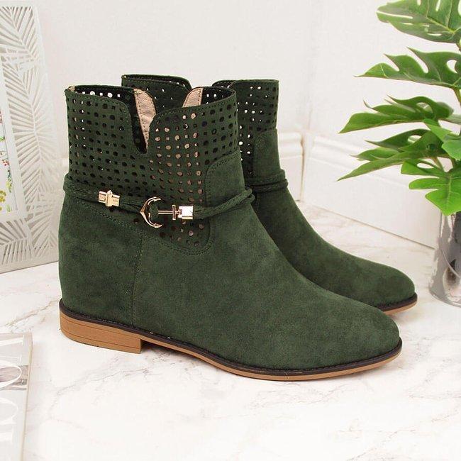 Botki damskie kowbojki ażurowe wiosenne zielone Jezzi
