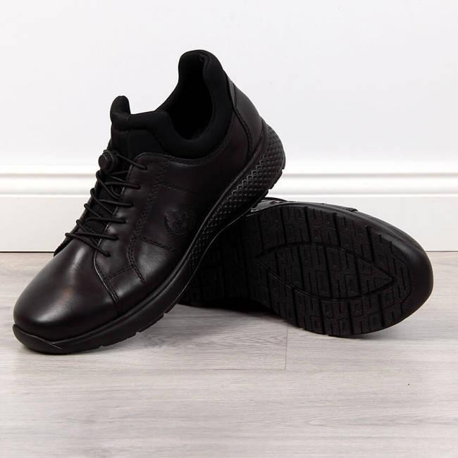 Buty skórzane męskie casual czarne Rieker B7694-00