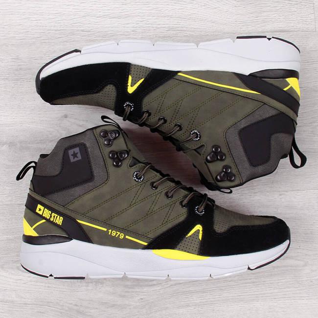 Buty skórzane męskie wysokie khaki Big Star II174221