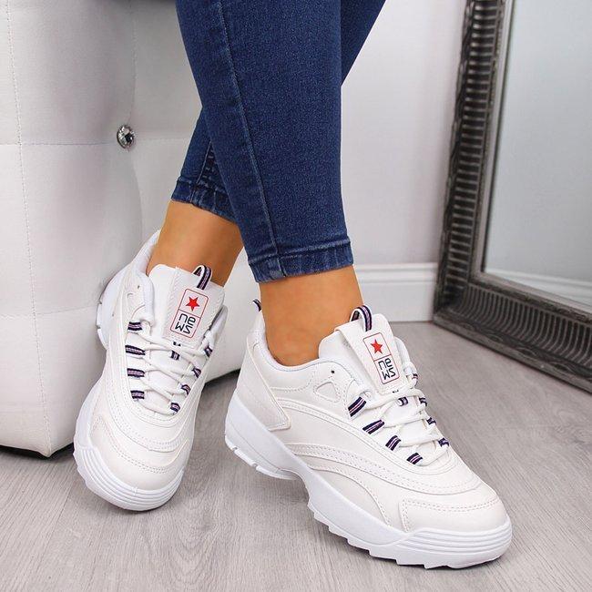 Buty sportowe damskie na grubej podeszwie białe NEWS
