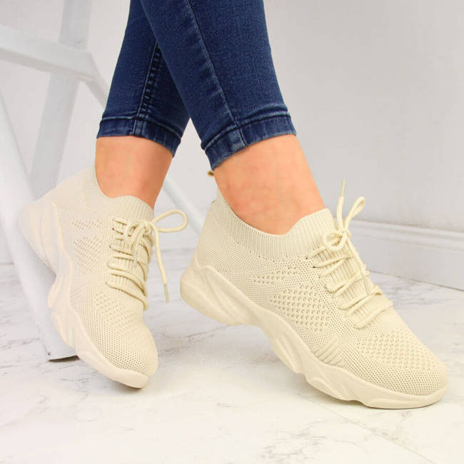 Buty sportowe damskie skarpetkowe beżowe Filippo