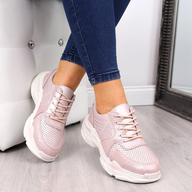 Buty sportowe damskie skórzane ażurowe różowe Filippo