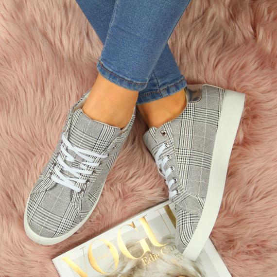 Buty sportowe damskie w kratkę szare eVento