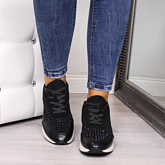 Buty sportowe damskie z cekinami czarne Sergio Leone
