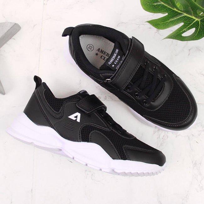 Buty sportowe dziecięce na rzep czarne American Club