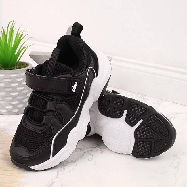 Buty sportowe dziecięce na rzep czarne Befado