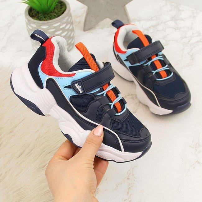 Buty sportowe dziecięce na rzep granatowe Befado