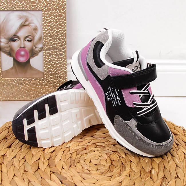 Buty sportowe dziewczęce na rzep czarne American Club