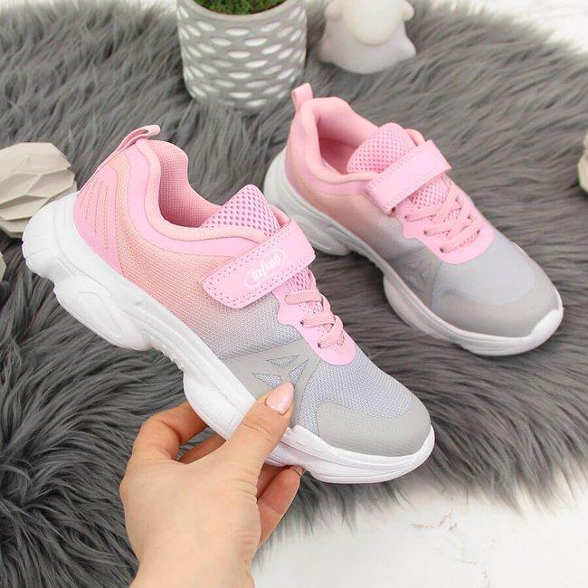 Buty sportowe dziewczęce na rzep ombre szaro różowe Befado
