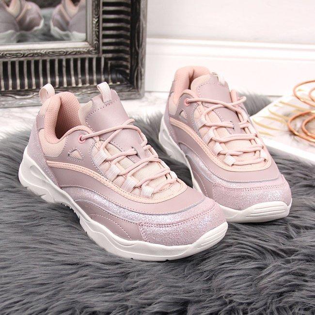 Buty sportowe skórzane damskie różowe Filippo