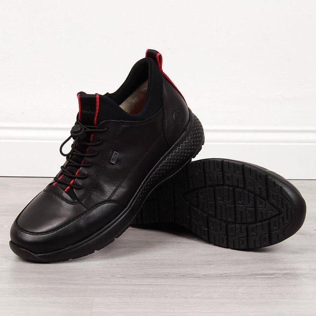 Buty sportowe skórzane męskie ocieplane czarne Rieker B7693