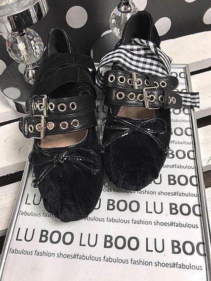 Czarne balerinki baletki z wstążką Lu Boo B12-18
