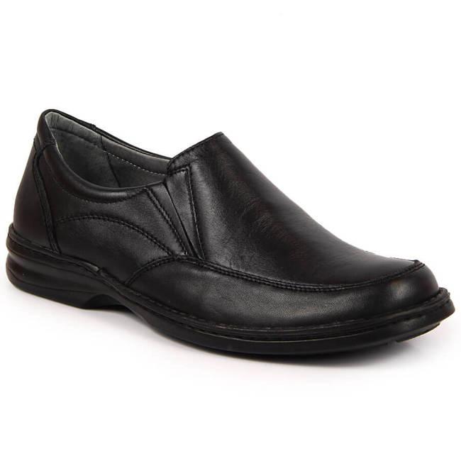 Czarne półbuty męskie skórzane komfortowe Helios 871