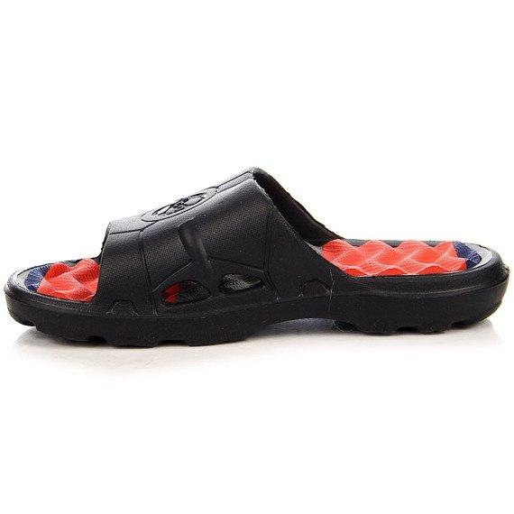 Czarno czerwone klapki chłopięce basenowe Dago