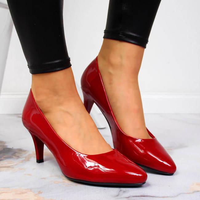 Czółenka lakierowane czerwone Sergio Leone