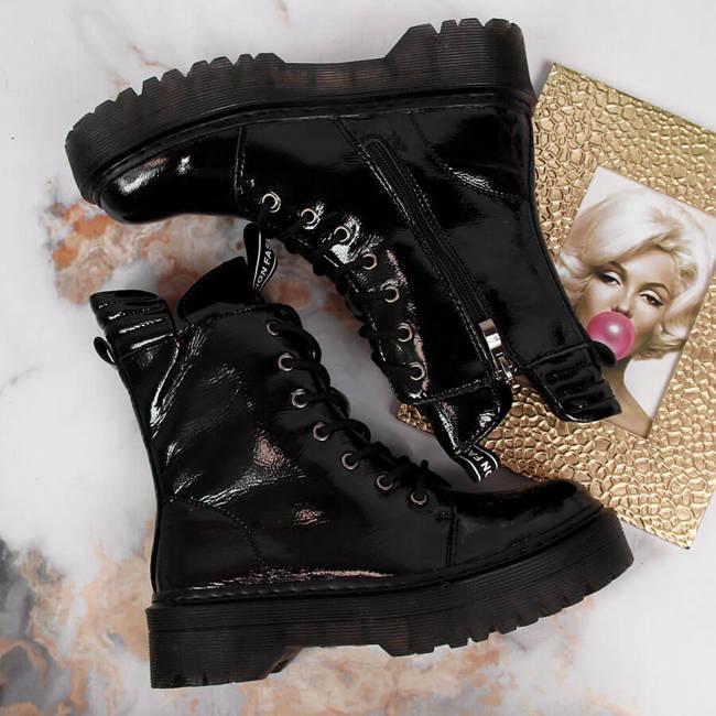 Glany skórzane damskie lakierowane ocieplane czarne Filippo