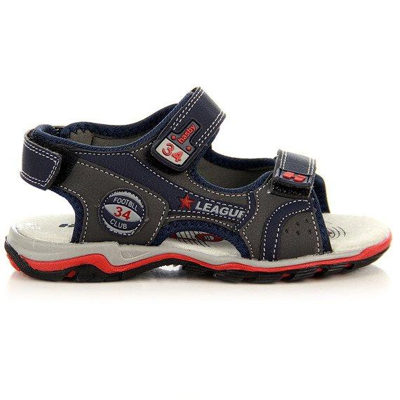 Granatowe sandały chłopięce na rzepy Hasby