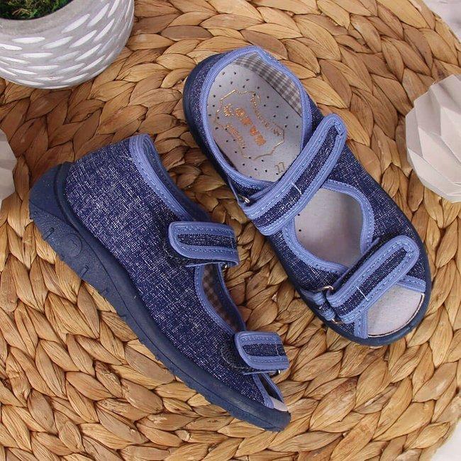 Kapcie dziecięce sandałki domowe jeansowe niebieskie Nazo