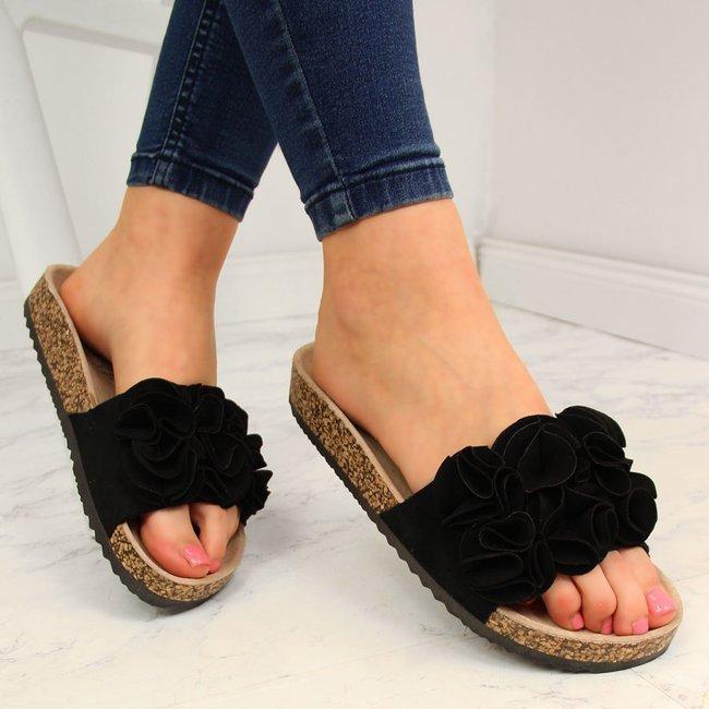 Klapki damskie z kwiatkami czarne Jezzi