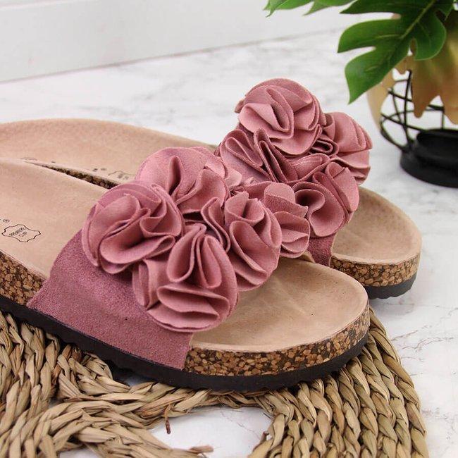 Klapki damskie z kwiatkami różowe Jezzi