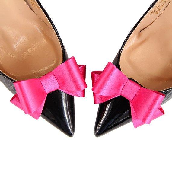 Klipsy do butów kokardki ozdoby różowe Coccine