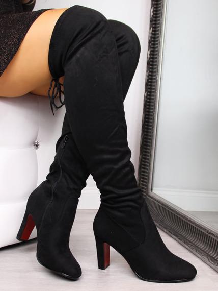 Kozaki damskie za kolano czarne Filippo