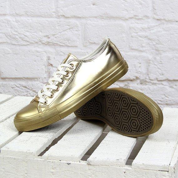 Lustrzane złote tenisówki damskie Big Star W274636