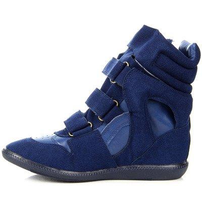 Niebieskie sneakersy na koturnie na rzepy Lu Boo