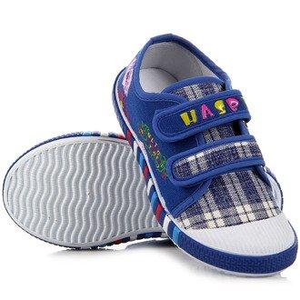 Niebieskie tenisówki dziewczęce na rzepy Hasby