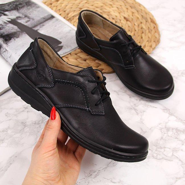 Półbuty damskie skórzane komfortowe czarne Helios 715