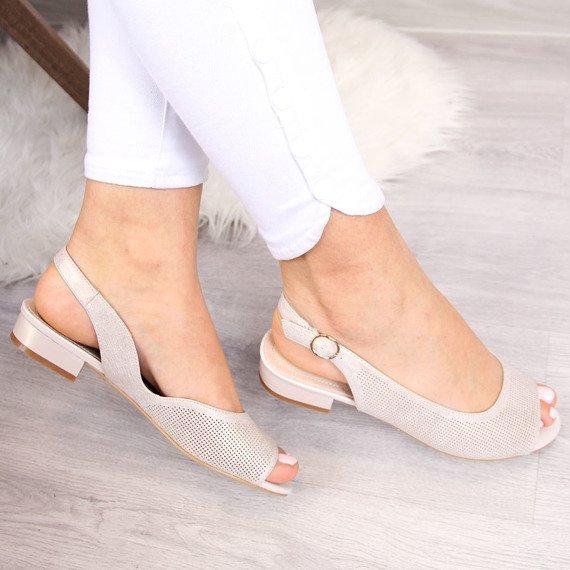 Sandały ażurowe beżowe połyskujące Sergio Leone