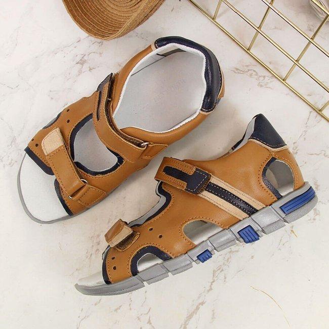 Sandały chłopięce na rzepy camel Kornecki 6185