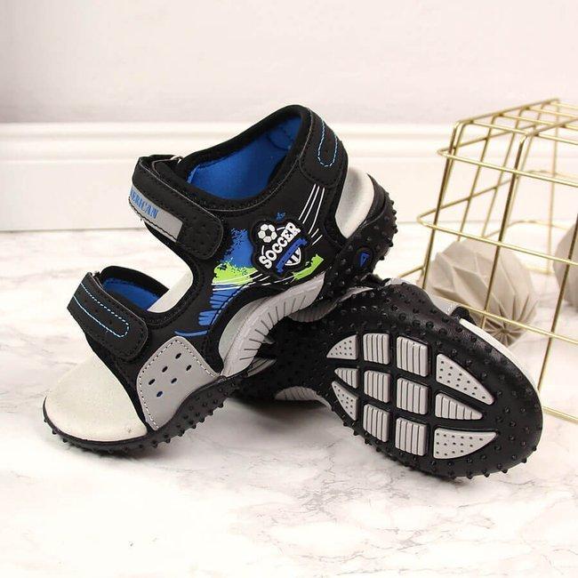 Sandały chłopięce na rzepy czarne American Club