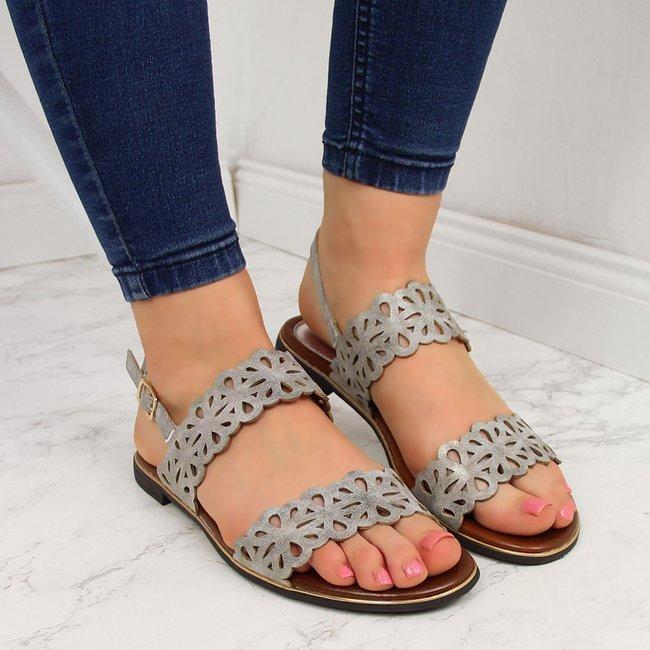 Sandały damskie ażurowe szare Jezzi