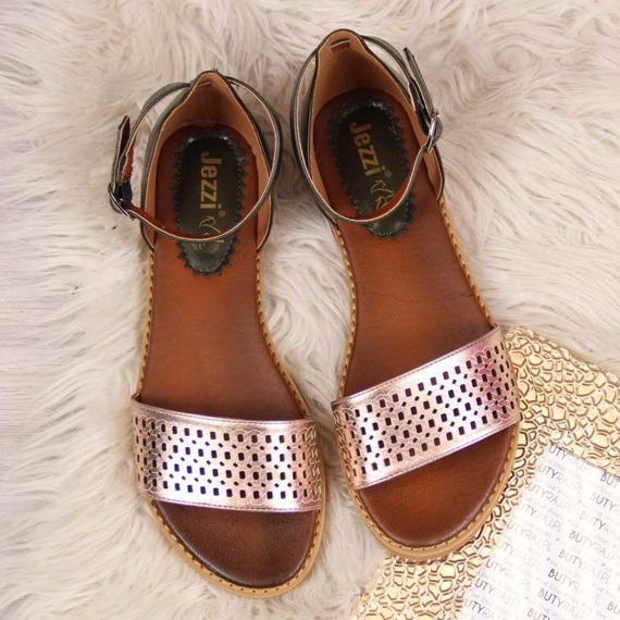 Sandały damskie ażurowe zielone złote Jezzi