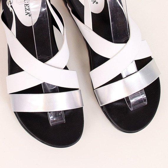 Sandały damskie biało srebrne Vinceza